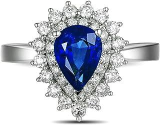 ANAZOZ Pierścionek soliter srebrny Boho, symulujący nano niebieski szafir łzy szlif łezki prawdziwe srebro pierścionek dam...