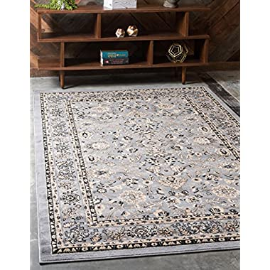 Unique Loom Sialk Hill Collection Traditional Floral Overall Pattern with Border Gray Home Décor Area Rug (8' x 10')