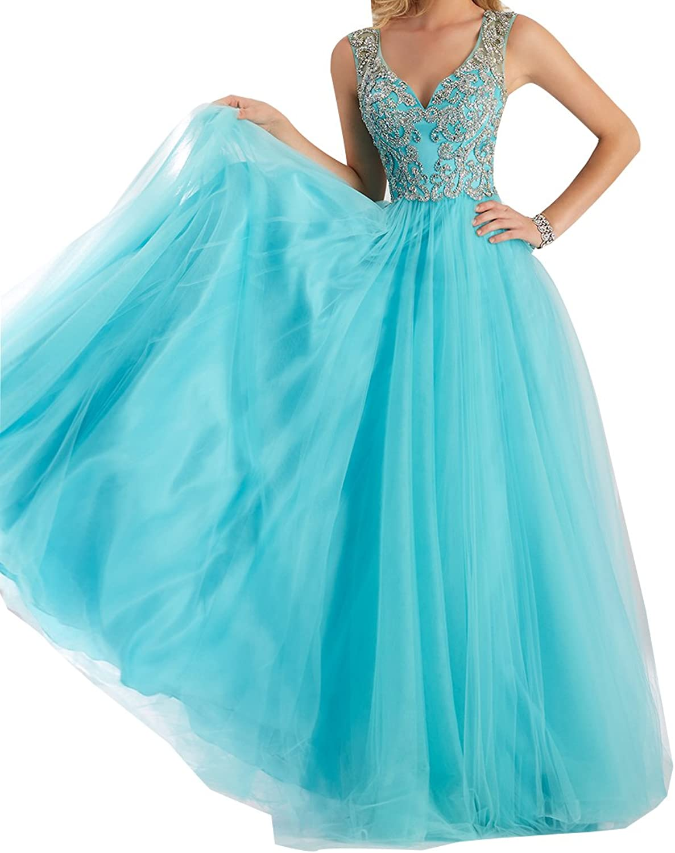 LISA.MOON Women's V Neck A line Back Hole Tulle Zipper Full Length Prom Dress