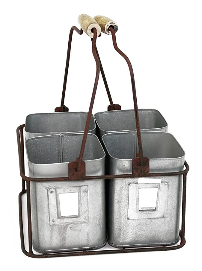 """Colonial Tin Works Metal Four Tin Organizer with Handles, 9"""" x 9"""" x 5?"""" """", Galvanized Gray Green Rust"""