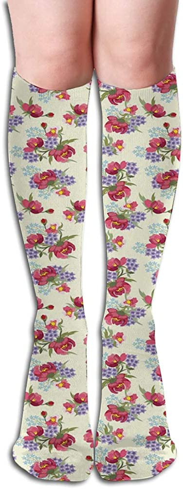 Men's and Women's Funny Casual Combed Cotton Socks,Flower Branches of Shabby Garden Peony Petunia Blossoms English Garden