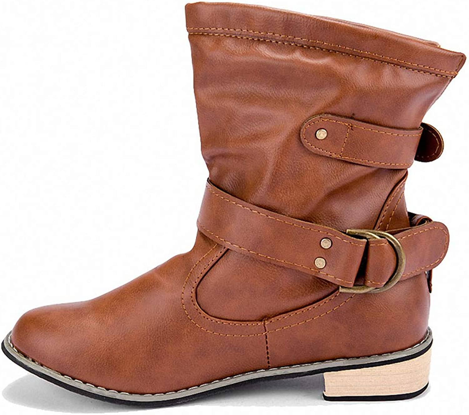 York Zhu Women Boots,Faux Leather Round Toe Chunky Ankle Fashion Boot