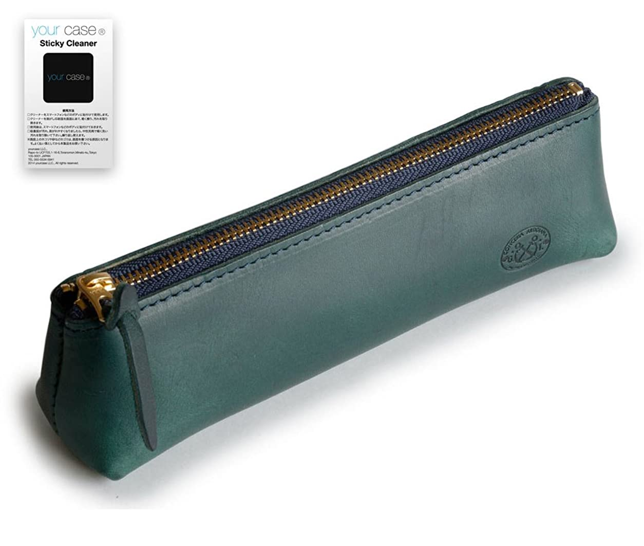 マットレス宇宙船概念TEMPESTI 共に成長する 本革 イタリアン ヴァケッタ レザー ペンケース【your case Sticky Cleanerセット】(AGAVE)