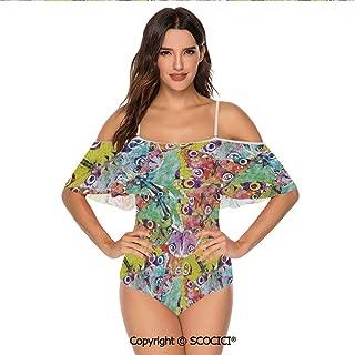 SCOCICI Bikini Swimsuit Complex Style Macro Figures Pastel Colorful Abstract Ar