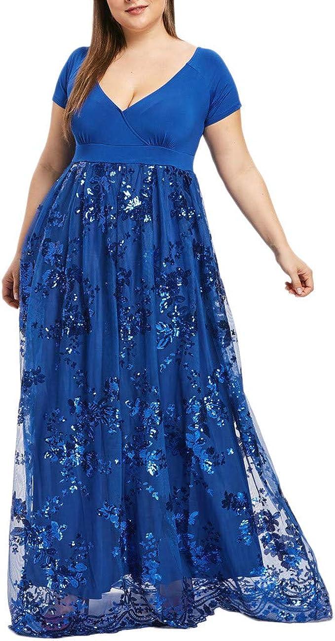 iCerber Große Größen Kleid, Damen Kleid V Ausschnitt Boho ...
