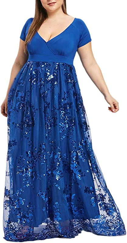 Plus Size Dresses For Women Short Sleeve Deep V Neck Sequined Splice Maxi Long Dress