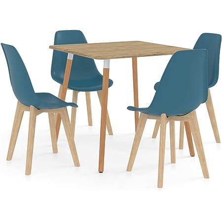 Festnight Ensemble de Salle à Manger ou Restaurants 1 Table et 4 Chaises Turquoise
