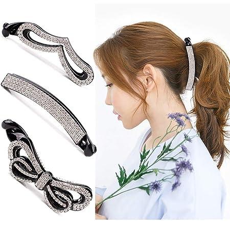 Beaupretty Banana fermacapelli, cristallo capelli artiglio strass capelli artiglio clip coda di cavallo titolare chiusura per capelli, 3 pezzi