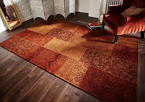 eRugs Traditioneller Chenille-Teppich, Patchwork, Jacquard-Muster, Terrakotta, 120 x 170 cm
