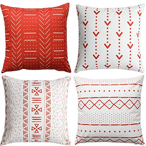 WLNUI Set of 4 Rust Decorative Pillow Covers 16x16 Inch Boho Modern Throw Pillow Covers Geometric Mudcloth Linen Neutral Square Cushion Case for Sofa Couch Chair Farmhouse Decor