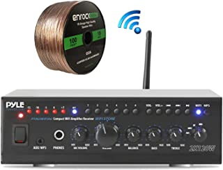 Pyle Home PTAUWIFI46 WiFi Bluetooth Theater Audio Component Amplifier Receiver, Enrock Audio Spool of 100 Foot 16-Gauge Speaker Wire (No Speakers)