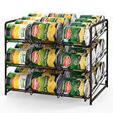 Stackable Can Rack Organizer 3 Tier Can Storage Dispenser Holds up to 36 Cans for Pantry or Kitchen Cabinet - Dark Brown