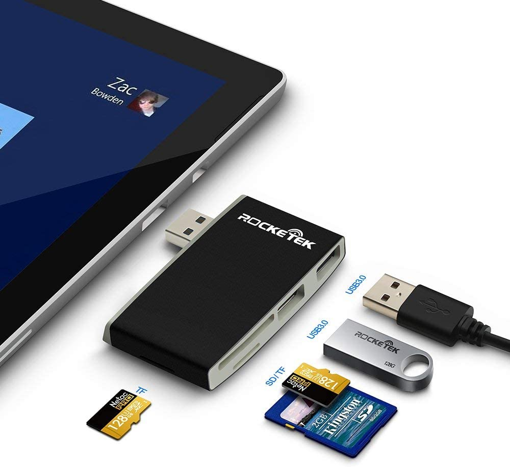 Memory Card Reader, Rocketek USB Smart Card Reader with SDHC/SDXC/SD Card Reader & Micro SD Card Adapter, CAC Card Reader for SIM, MS, M2, MMC RS & 4.0 Compatible with Windows, Linux, Mac OS X
