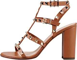 Sandals for Women, Rivets Studded Strappy Block Heels Slingback Gladiator Shoes Cut Out Dress Sandals