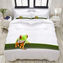 HKIDOYH Duvet Cover Set,Tree Frog Perched on a Long Slim Leaf,Polyester 3 Piece Bedding Set with 2 Pillow Cases,Double