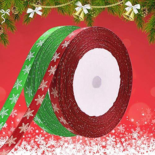 AFASOES 2 Pcs Cinta de Regalo Navidad 10 mm x 22,86 m Cinta de Raso Estrecha con Patrón de Copo de Nieve Cintas Navideñas Verde y Roja Cintas Decorativas Navideñas para Envolver Regalos Manualidades