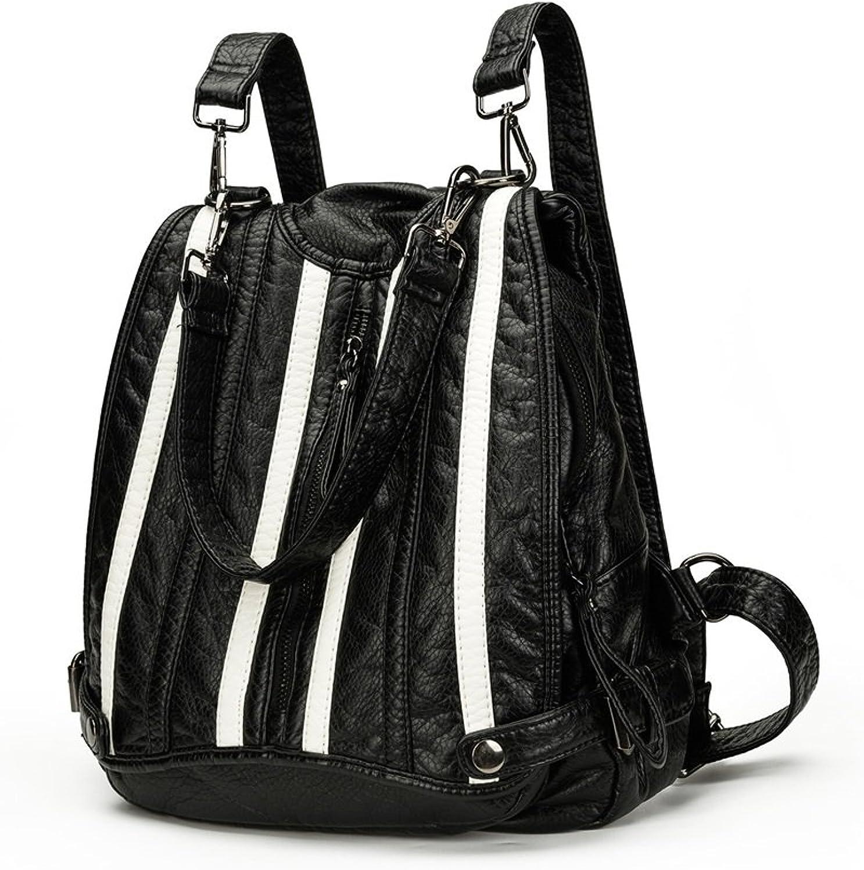 Multifunktionsrucksack Casual Damen Rucksack Dual Use Handtasche Reiverschluss wasserdicht PU Daypack Travel Outdoor Shopping (Farbe  Schwarz) für Reisen Business College Frauen