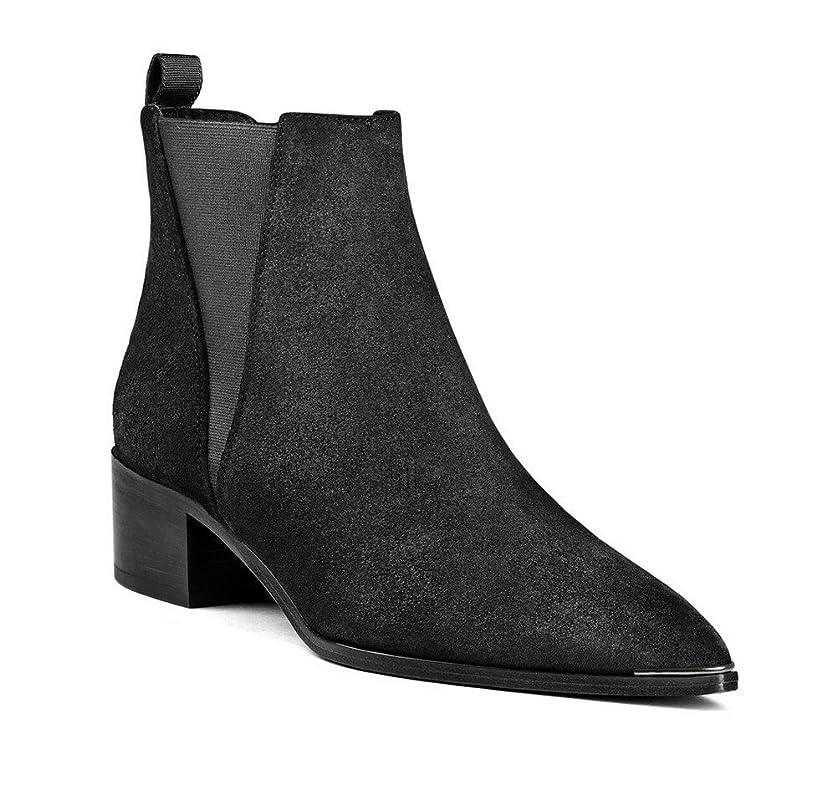 リボンピュー上級(ヴォーグゾーン009) VogueZone009 ウィメンズ スクエアヒール ショートブーツ とんがり 無地 05552 22.0cm 黒色