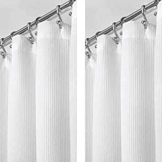 mDesign - 2 Pack - Premium 100% Cotton Waffle Weave Fabric Shower Curtain, Hotel Quality - for Bathroom Showers and Bathtu...