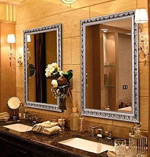 Large Rectangular Bathroom Mirror, Wall-Mounted Wooden Frame Vanity Mirror, Silver -