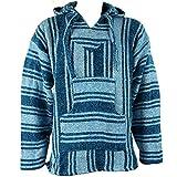 Mexican baja jerga sudadera con capucha Hippie Festival Top luz azul talla M L XL XXL, azul claro, Medium