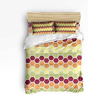 4 Piece Bedding Duvet Cover Sets with Flat Sheet and Decorative Pillowcases for Kids/Adults/Teens - Queen Size Luxury Soft Lightweight Brushed Microfiber, Colorful Honeycomb
