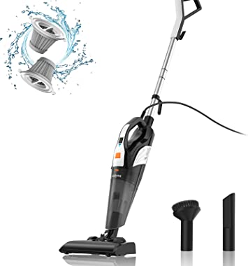 Meiyou Stick Vacuums-Handheld Corded-Lightweight-Powerful Suction - 4 in 1/18kpa/Washable HEPA Filter for Home/Car/Pet Hair/C