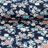 Baumwolljersey Stoff Blumen auf Marine 50cm x 150cm Stoff