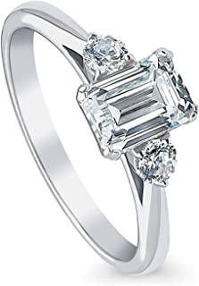 Rhodium Plated Sterling Silver 3-Stone Anniversary Promise Engagement Ring Made with Swarovski Zirconia Emerald Cut 1.22 CTW