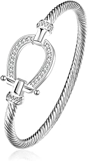 Lucky Horseshoe Bangle Crystal and Silver Western Jewelry Good Luck Charm for Horse Lover Girl Woman Teen 06002865