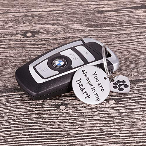 Pet Memorial Gifts Keychain for Pet Dogs Owner Dog Mom Dad Remembrance Memory Sympathy Gifts for Loss of Dog Pet Loss Gifts Keepsake for Dog Lover You are Always in My Heart Paw Print Keyring Photo #4