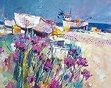 Chris Forsey 'Barcos y Playa de Flores Lienzo Prints,, 40x 50cm