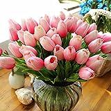 Besttoyeye 20 Stück Tulpe künstliche Blume Latex Real Touch Bridal Wedding Bouquet Home Decor (Rosa)