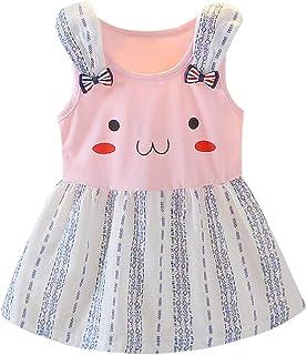 29e9f9a74a8 ABsoar 💙 Robe de Bebe Filles Tenues Enfant sans Manches Oreille de Lapin  de Dessin animé