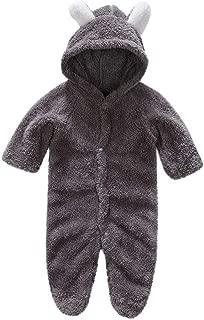 Newborn Boys Girls Solid Long Sleeves Keep Warm Cartoon Hooded Jumpsuit