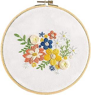 Kapmore Full Set of Embroidery Kit Flower Cross Stitch Set Needlework Kit for Beginners