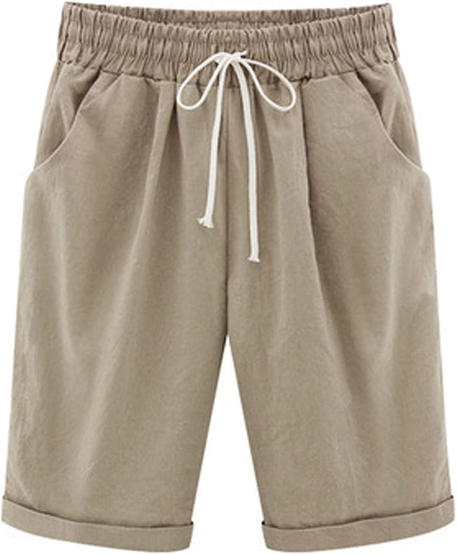 Zainafacai Women's Casual Shorts,Women's Comfot Cotton Elastic Waist Knee Length Bermuda Shorts with Drawstring Plus Size