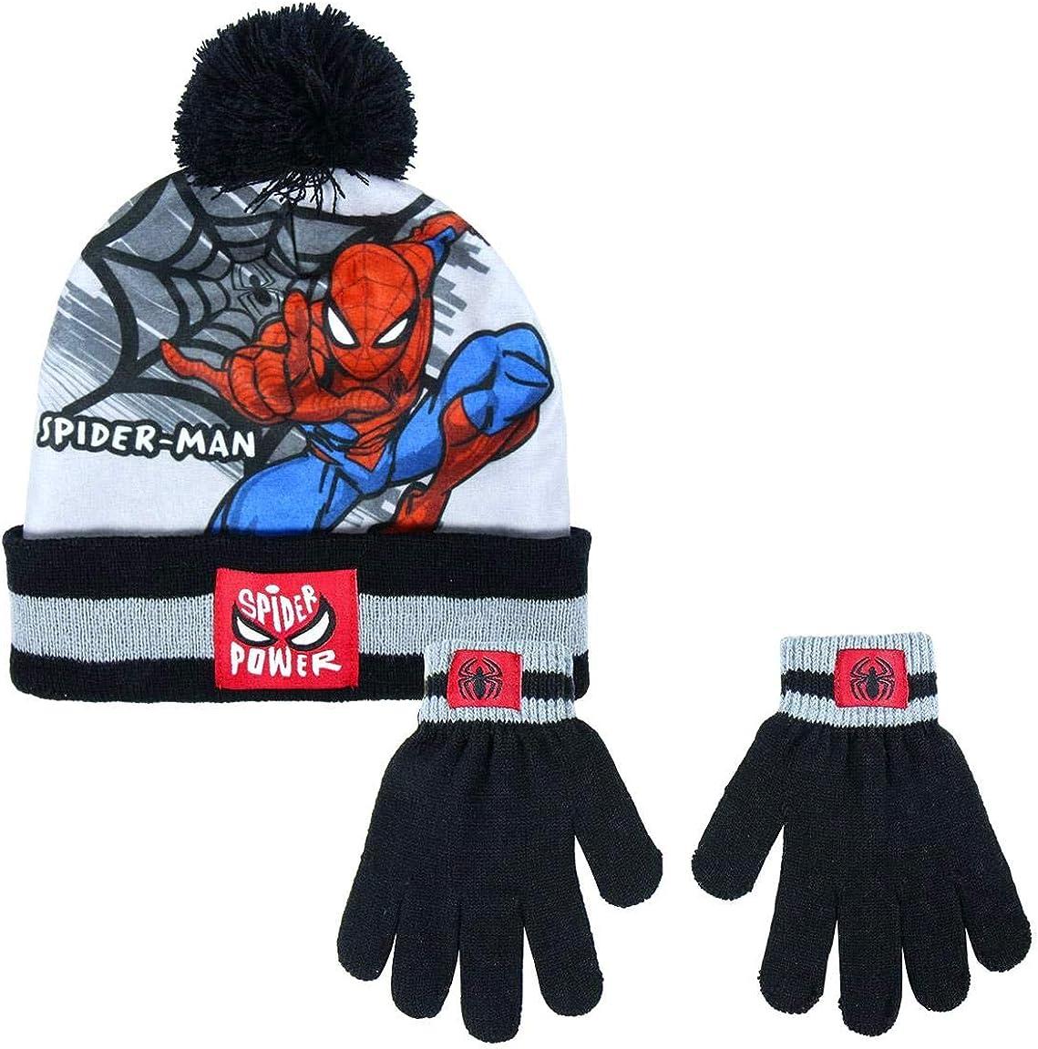 2-6 Anni 2 Pezzi Cappello e Guanti Set Inverno Bambino Marvel Spiderman Avengers