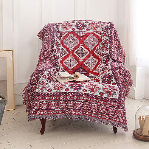 amorus Sofa-Überwurf im Bohemian-Stil, warm, dick, weich, Patchwork-Decke (130 x 180 cm)