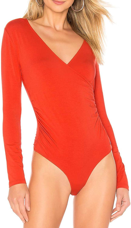 JLCNCUE Women's Surplice Ruched Plunge Neck DeepV Long Sleeve Bodysuit Jumpsuits 71745