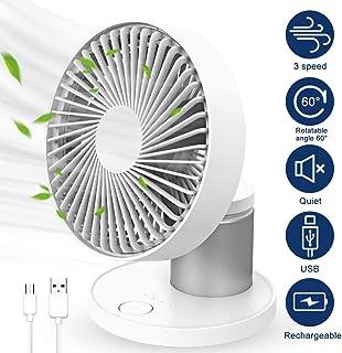 Collen Ventilador USB de Mesa, Ventilador USB Silencioso, Ventilador Portátil de 3 Velocidad Ventilador Pequeño Silencioso para Oficina Hogar Ventilador de Circulación de Aire (Blanco)