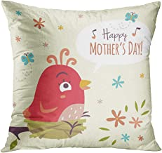 Docady Throw Pillow Decor Square 18 x 18 Inch Intage Bird's Nest Cartoon Bird Happy Mothers Day Super Soft Decorative Cushion Cover Printed Pillowcase Cover Home Sofa Living Room