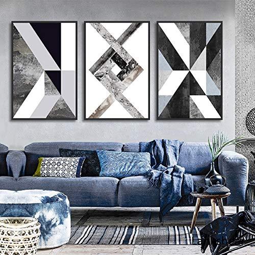 hetingyue Frameless abstract canvas geometrische zwart-wit nordic poster en muur kunst print foto decoratie