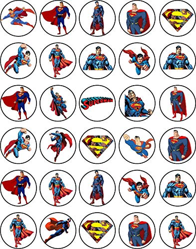 30 x Edible Cupcake Toppers Themed of Super Man Collection of Edible Cake Decorations | Uncut Edible on Wafer Sheet
