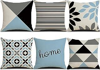 HuiSiFang Lot de 6 Housse de Coussin Motif Géométrique, Coton Lin Taie d'oreiller 45 x 45 Décoration Chambre Canapé Voiture