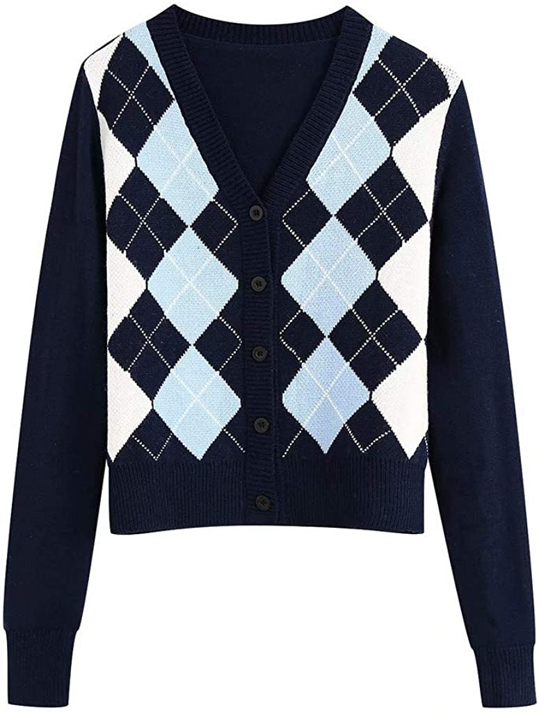 SPE969 Women's England Style Knit Sweater Button Retro Argyle Checked Pattern Cardigan Jumper