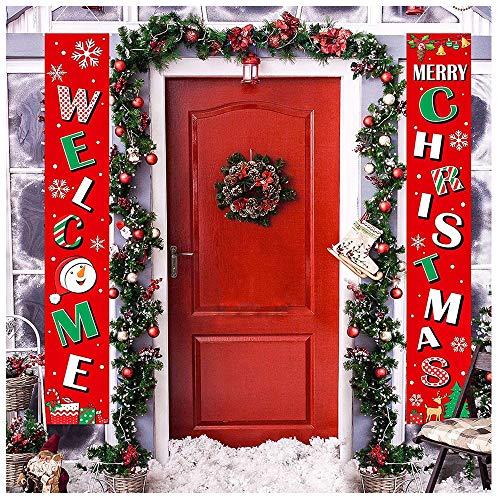 AMACOAM Weihnachtsschilder Willkommen Frohe Weihnachten Banner Weihnachtsdeko Tür Weihnachtsschild Weihnachtsdekoration Draußen Innen Red Xmas Veranda Zeichen Hängen für Home Wall Tür Decor (2 Stück)