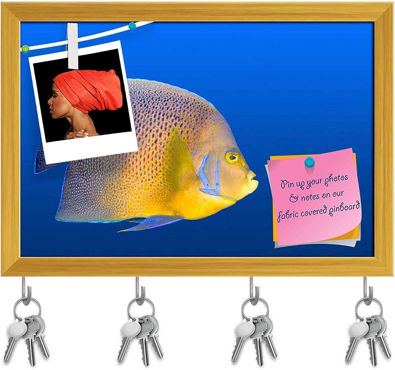 Artzfolio Big Fish Chasing Small Fish Key Holder Hooks   Notice Pin Board   golden Frame 17.5 X 12Inch