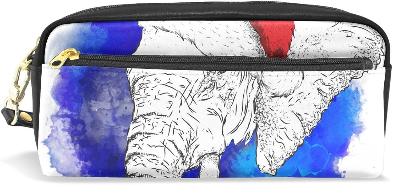 BENNIGIRY Weihnachtselefant Bleistift Fall tragbar Pen Tasche Student Schreibwaren Pouch PU Leder Groß Kapazität Reißverschluss Make-up Kosmetiktasche B0784ZL3L5 | Exzellente Verarbeitung