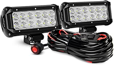 Nilight ZH008 2PCS 6.5 Inch 36W Flood Bar Led Work Driving Light with Off Road Wiring Harness, 2 Years Warranty